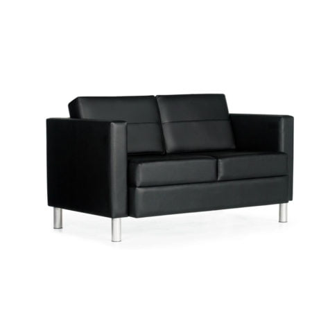black loveseat with white background