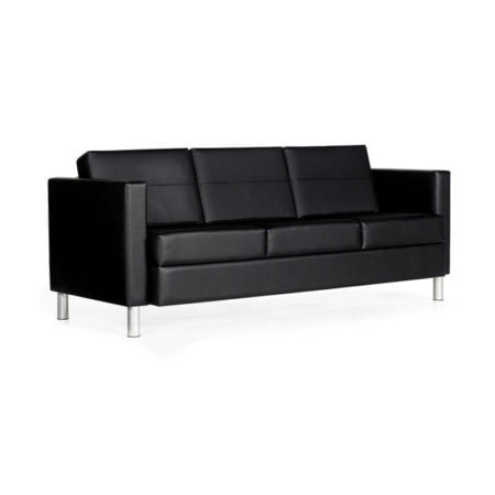 black leather sofa with white background