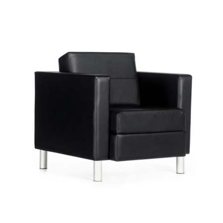 black modern leather chair with white background
