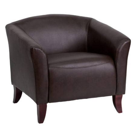 Hercules Imperial Series Brown Leather Reception Guest Chair