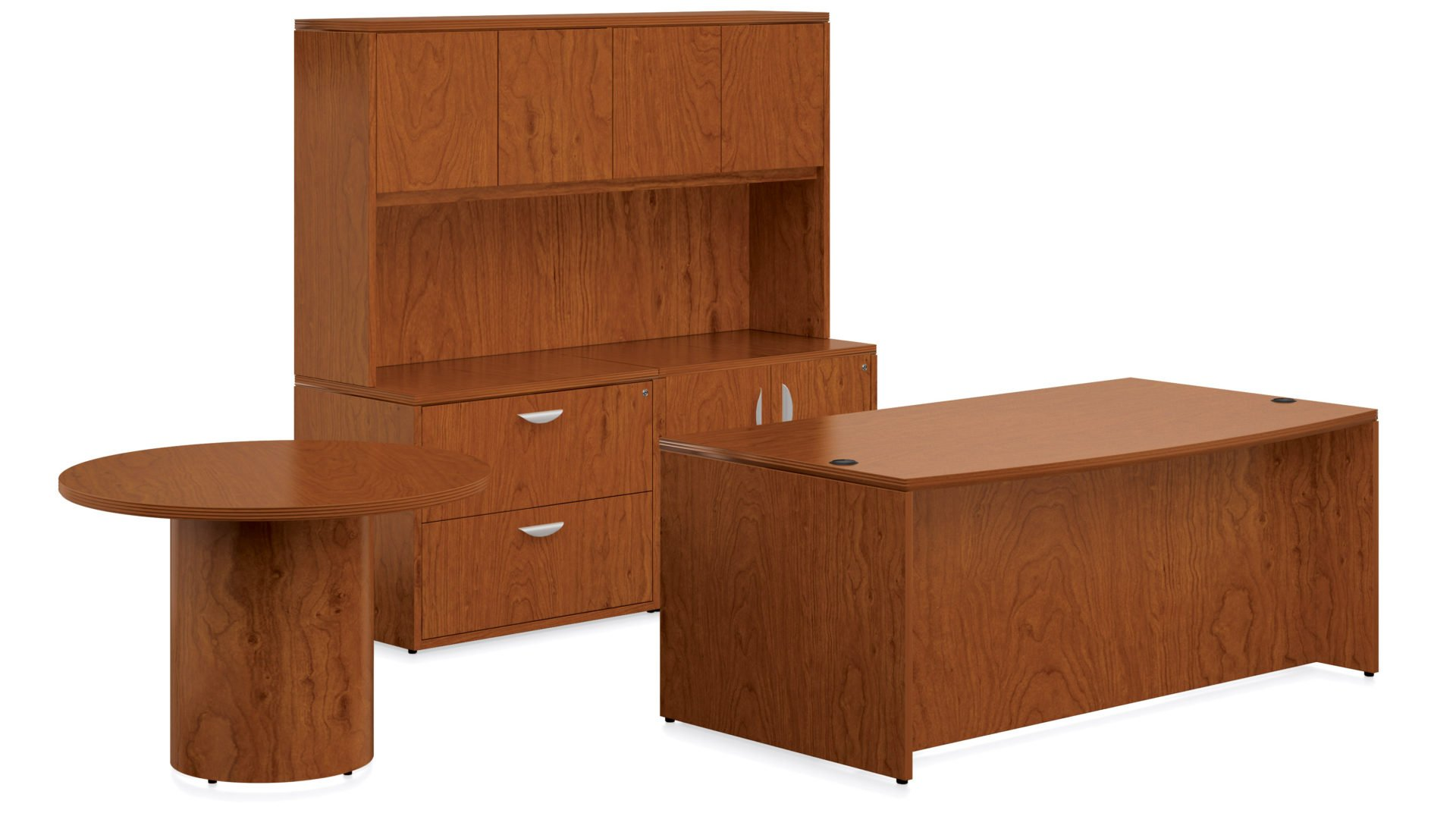 ... Executive Desk, Hutch And Round Table. Product Description