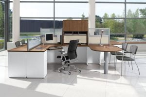 U shaped white desk with wood laminate top