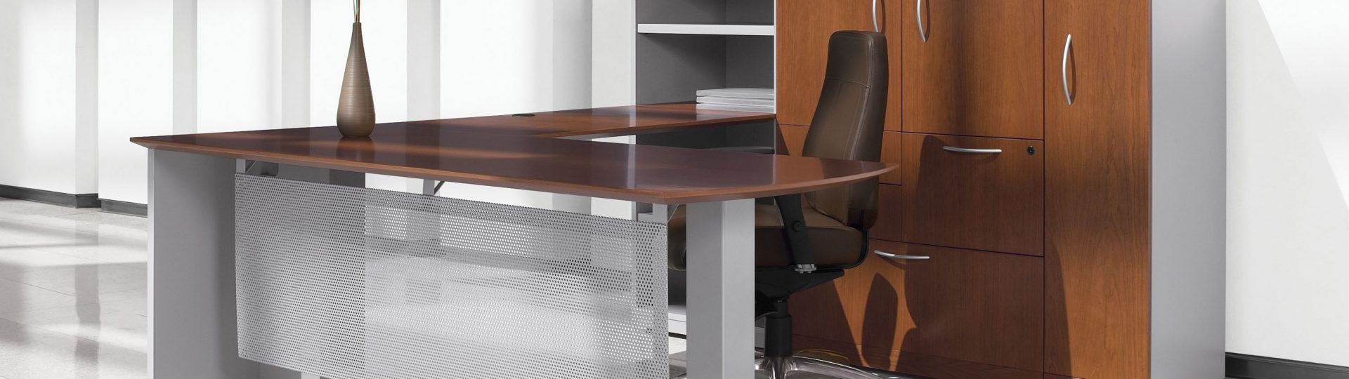 L Shaped Veneer Office Desk
