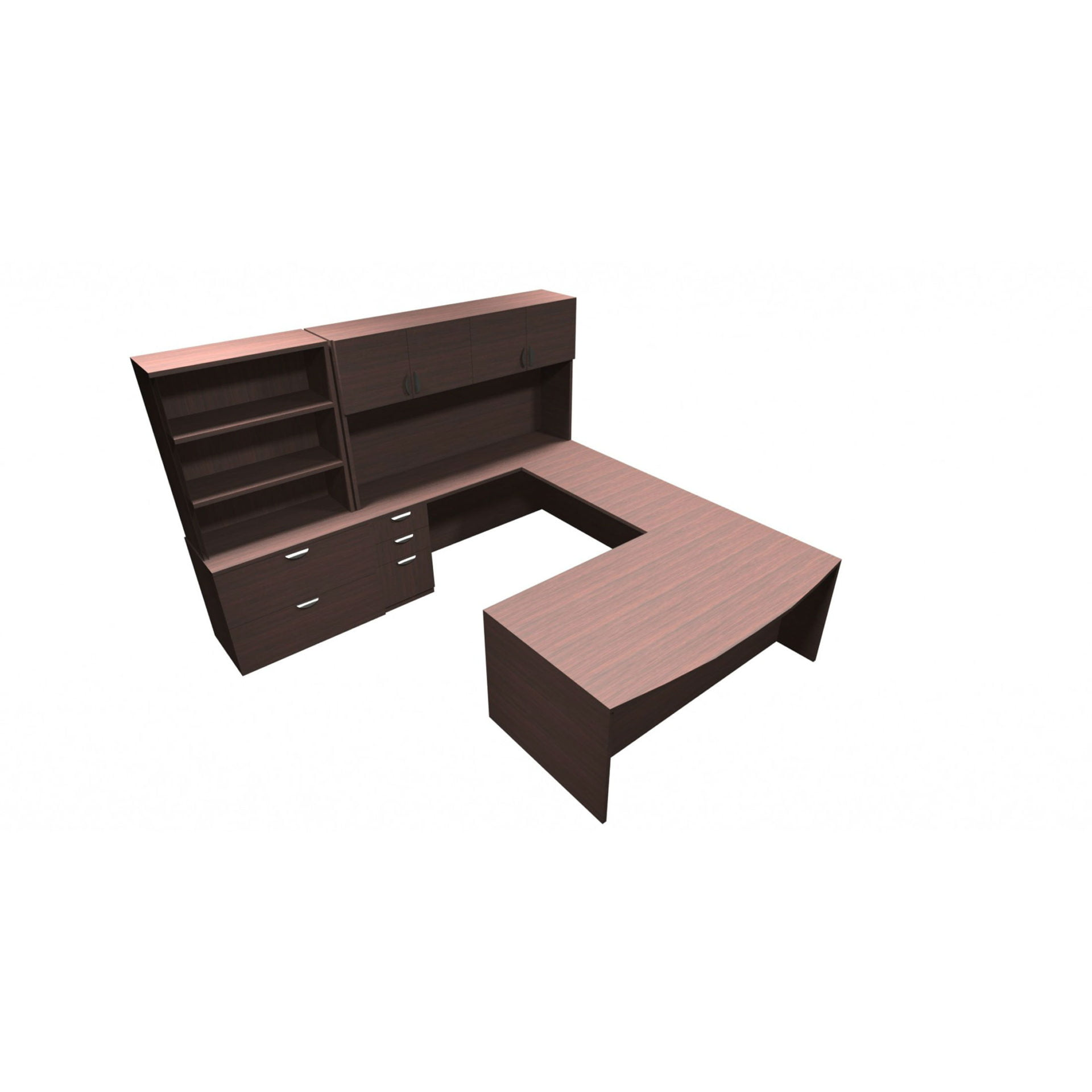 Jade Typical With U-shaped Bowfront Executive Desk, Credenza, File Storage,  Hutch And Shelves