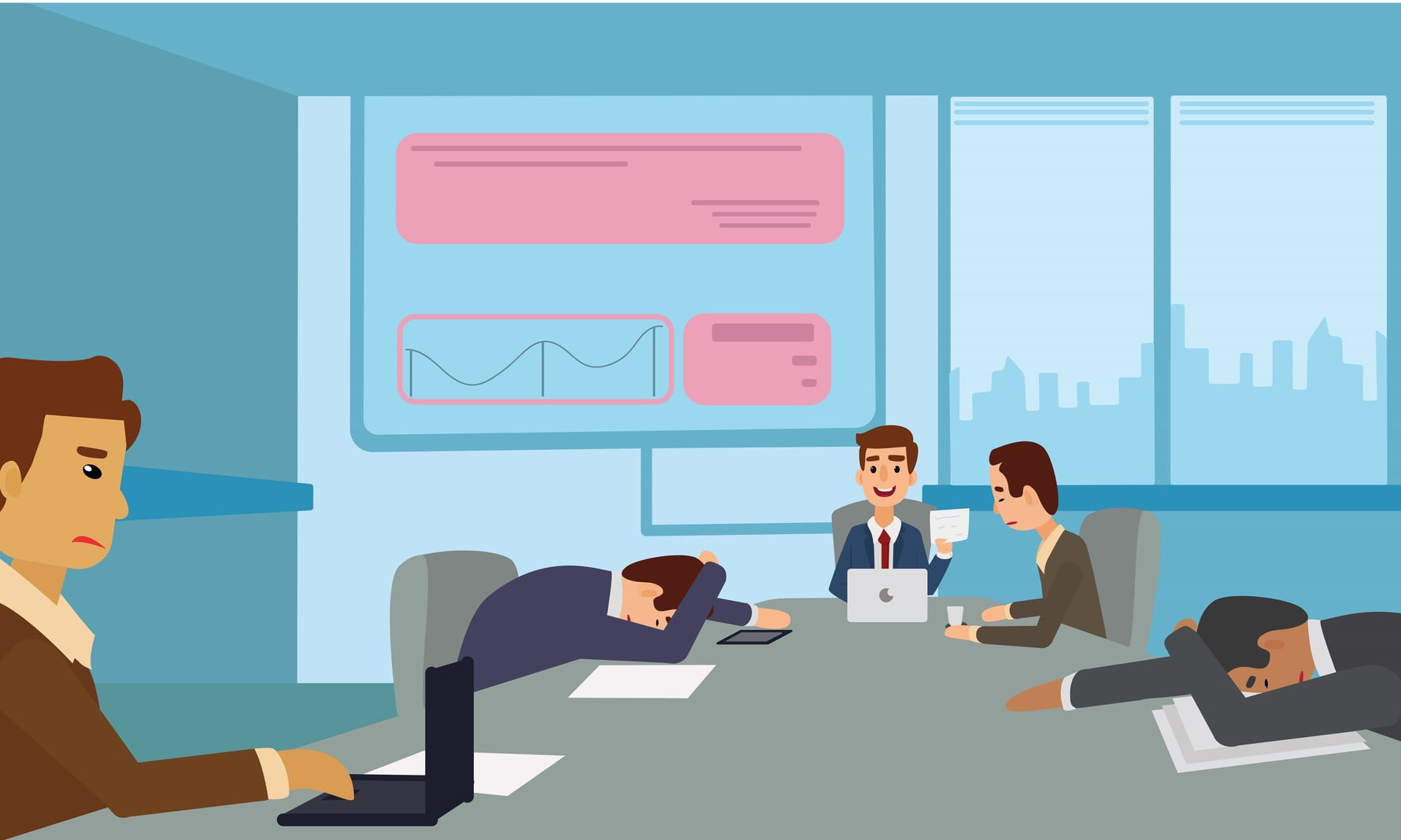 illustrated image of employees sitting at a table working on computer and some with heads down