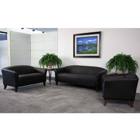 Hercules Black Imperial Leather Reception Set