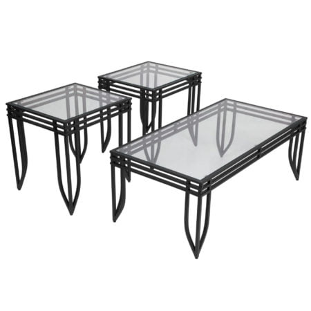 3 Piece Metal and Glass Reception Area Occasional Table Set