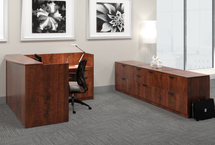 Offices to Go Laminate Reception in American Dark Cherry