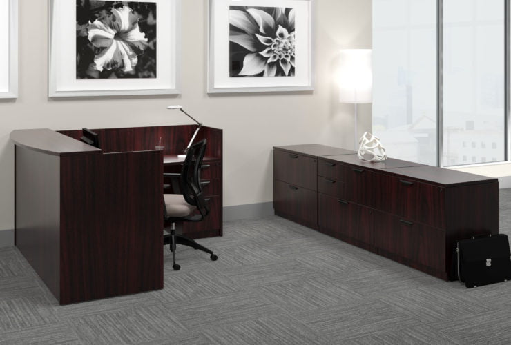 Offices to Go Laminate Reception in American Mahogany