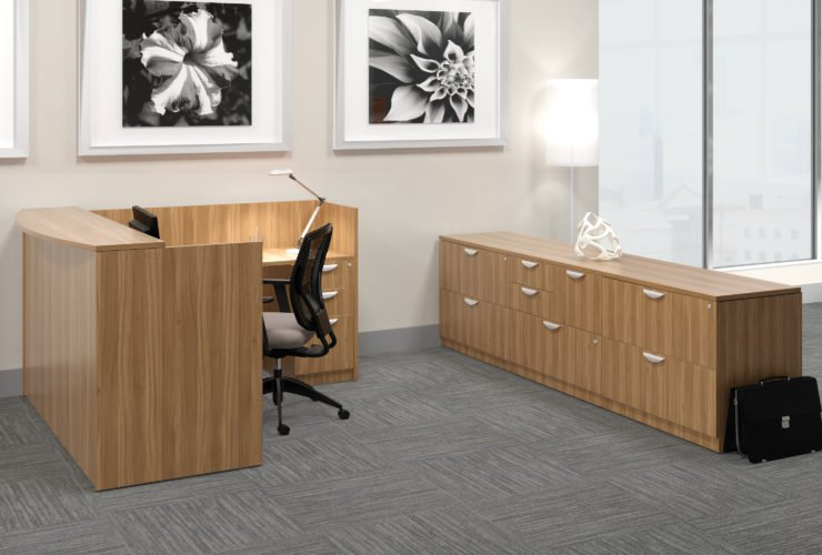 Offices to Go Laminate Reception in American Walnut