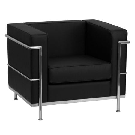 Modern Chrome and Black Leather reception chair