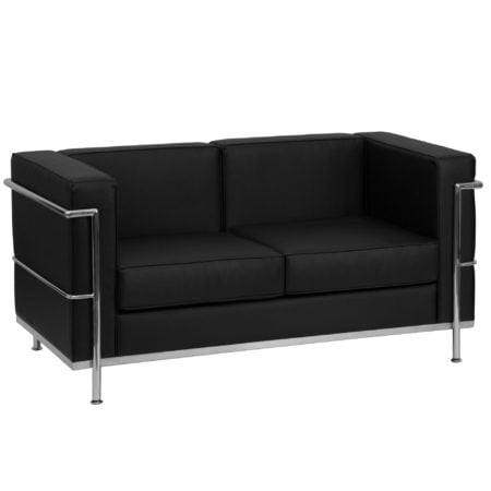 Modern Chrome and Black Leather reception loveseat