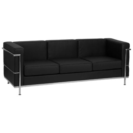Modern Chrome and Black Leather reception sofa