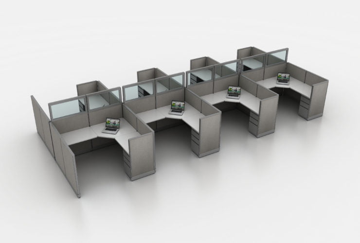 6x6x42-8pack remanufactured cubicles with glass panels