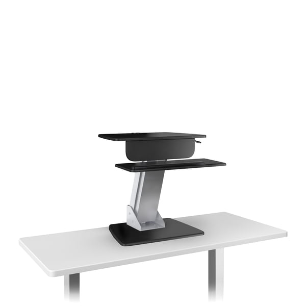 ESI Lift WB Workstation with Wooden Base on a White Table