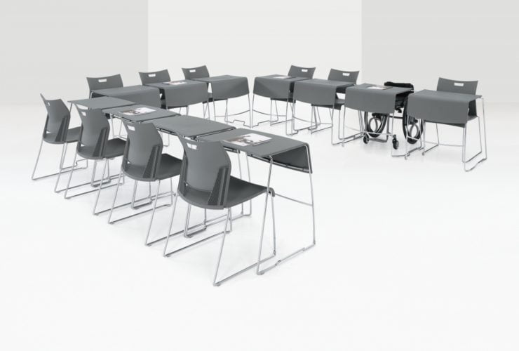 u-shaped training tables set up for classroom