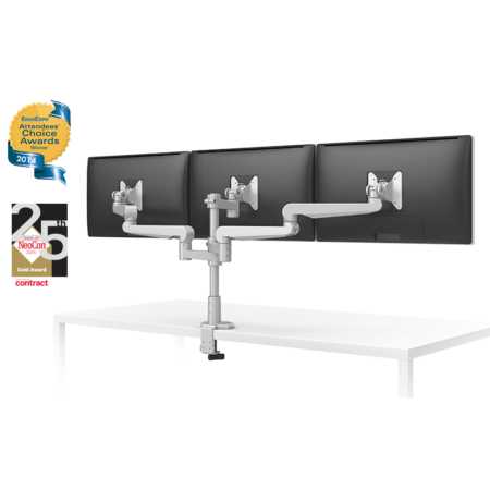 Silver ESI EVOLVE3 triple monitor arm