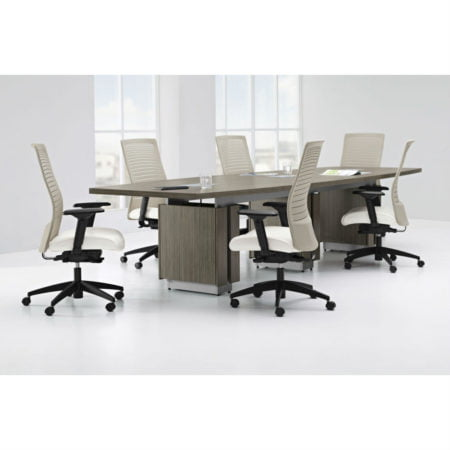 Zira Boardroom Table With White Executive Chairs