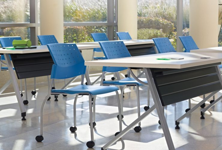 training tables with blue chairs