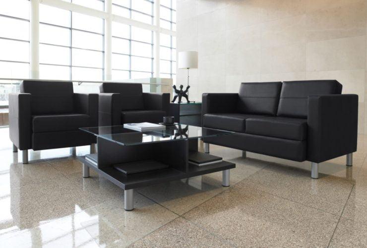 black modern reception tables