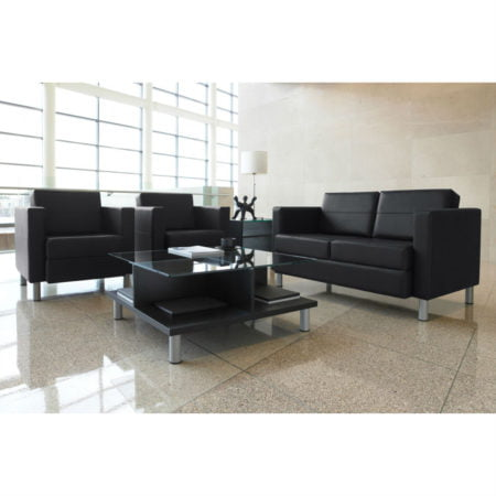 citi tables with black leather couches and chairs