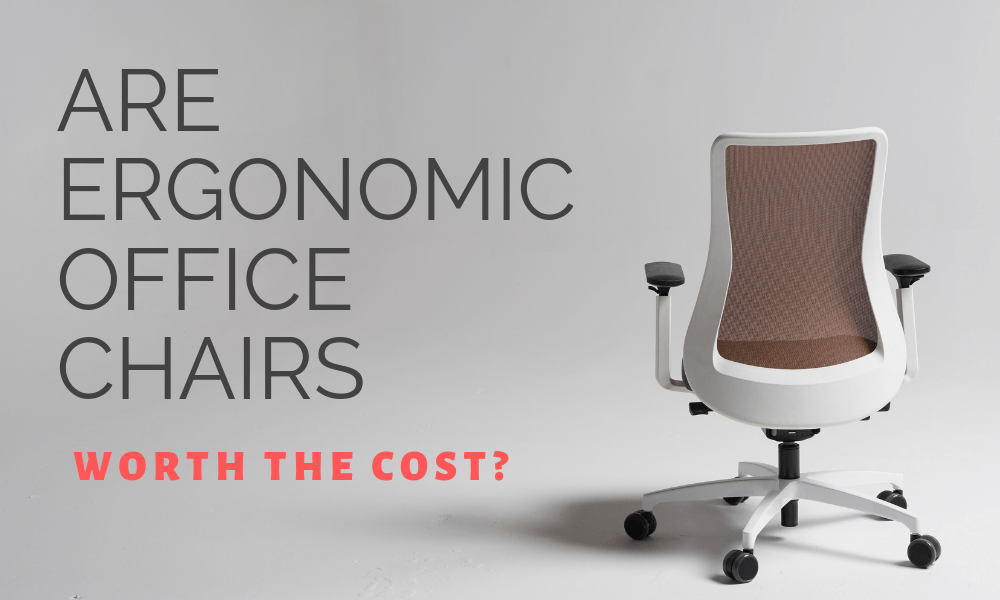 white modern ergonomic task chair with brown fabric