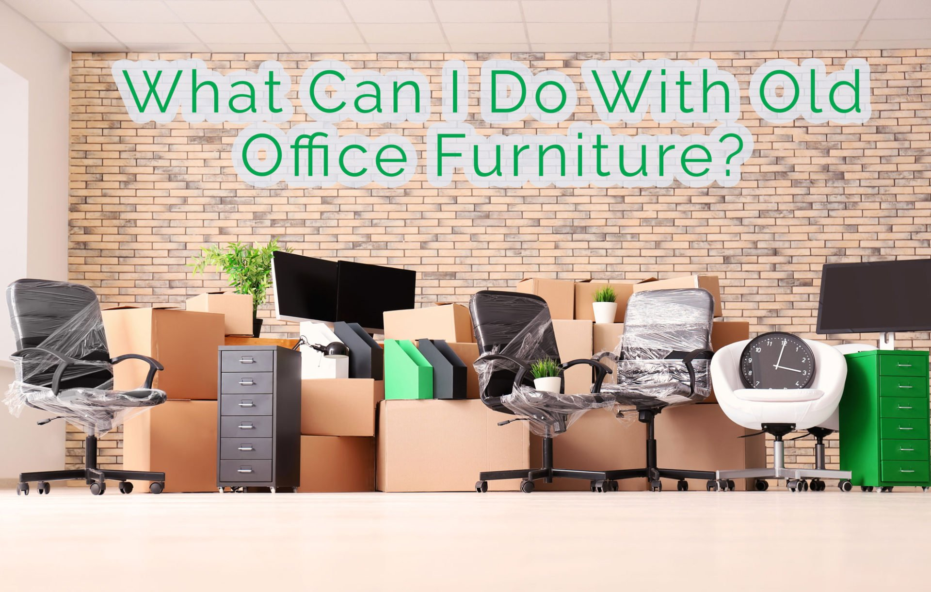 moving boxes and office furniture