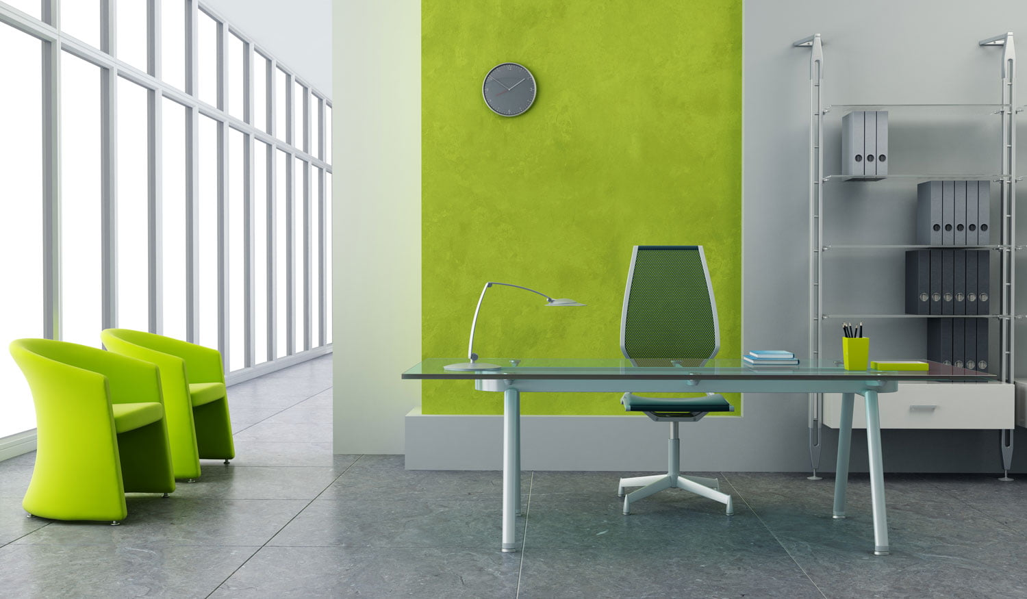 modern office design in lime green and metal
