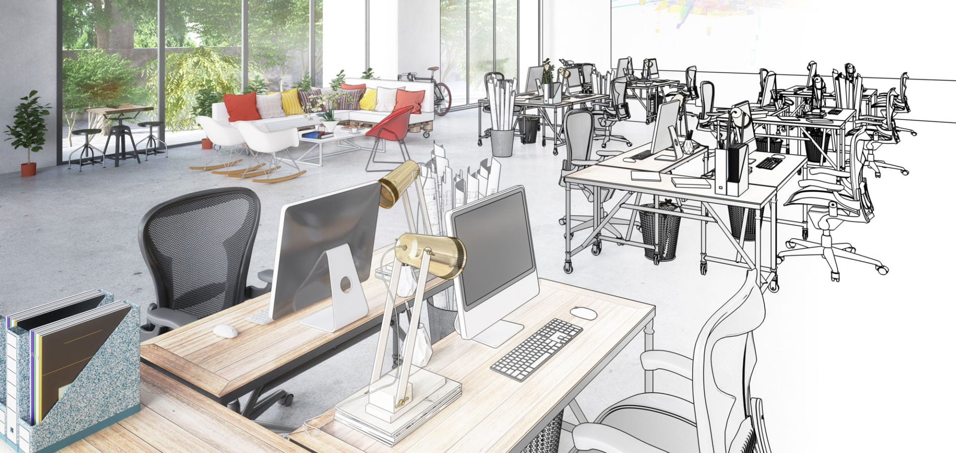 An Open Office Space Plan And Design