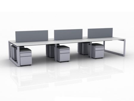 ICON 6-Pack Double Run Benching, with white background. Each workstation has pedestal drawers, to the user's right. This is our 60x30 inch bench, model IC014.