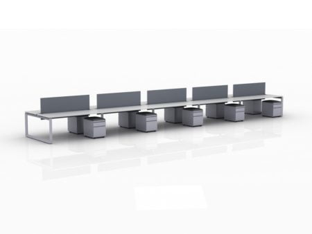 ICON 10-Pack Double Run Benching, with white background. Each workstation has pedestal drawers, to the user's right. This is our 72x30 inch bench, model IC020.