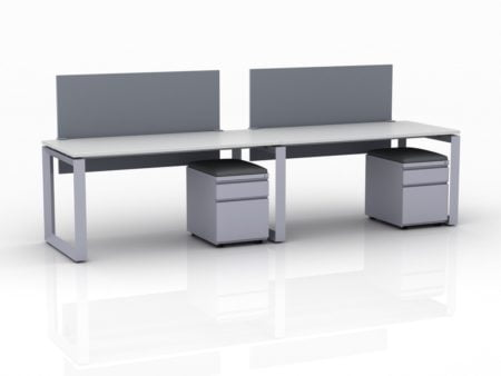 ICON 2-Pack Single Run Benching, with white background. Both workstations have pedestal drawers, to the user's right. This is our 60x30 inch bench, model IC029.