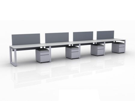 ICON 4-Pack Single Run Benching, with white background. Each workstation has pedestal drawers, to the user's right. This is our 60x30 inch bench, model ICO31.