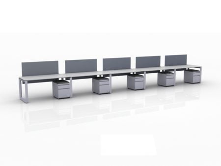 ICON 5-Pack Single Run Benching, with white background. Each workstation has pedestal drawers, to the user's right. This is our inch bench, model IC032.
