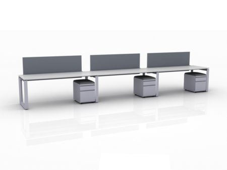 ICON 3-Pack Single Run Benching, with white background. Each workstation has pedestal drawers, to the user's right. This is our 72x30 inch bench, model ICO34.