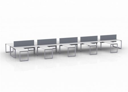ICON 10-Pack Double Run Benching, five 42x24 inch returns jutting out on each side. This is our 72x30 inch bench, model IC092.