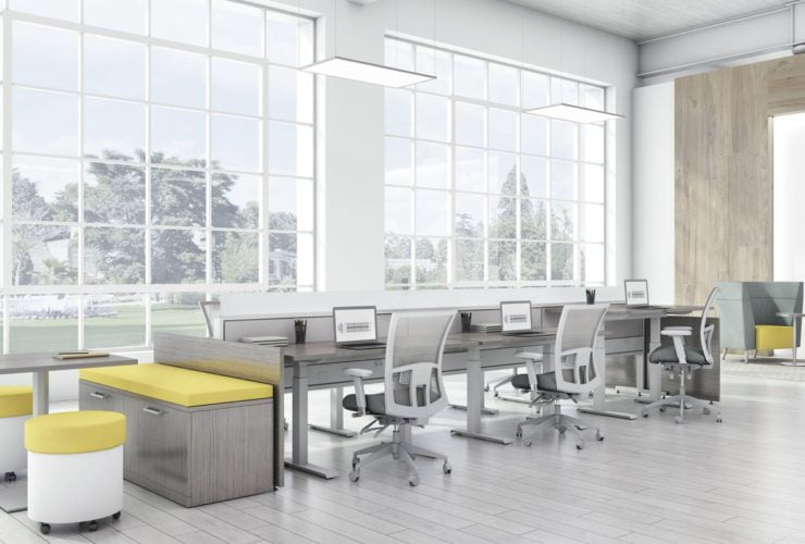 Global's 6-person power beam desks in an office space with tall ceilings. Each workstation has a laptop open, with glass paneling for privacy. Sunlight is cast upon the acoujou finish. At one end is a cabinet with sunflower yellow cushions, and a square Swap table.