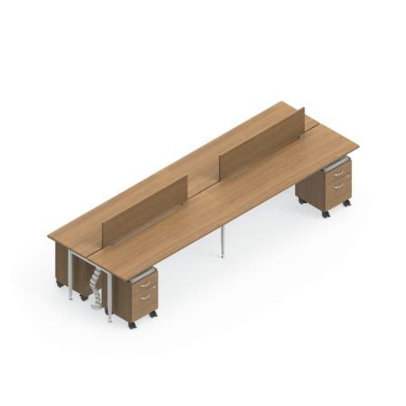 Global Sidebar 4-Person Benching, with modesty panels. It is placed on a white background. Mobile pedestal drawers are placed just underneath each station.