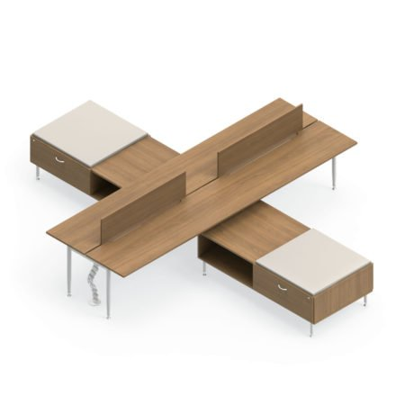 Global Sidebar 4-Person Benching, with modesty panels in place. It is on a white background. Generously sized credenza's are placed between each station, on both sides.
