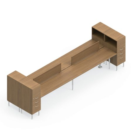Global Sidebar 4-Person Benching, with modesty panels in place. It is on a white background. At each end is a storage tower with three drawers and an open shelf facing the user.