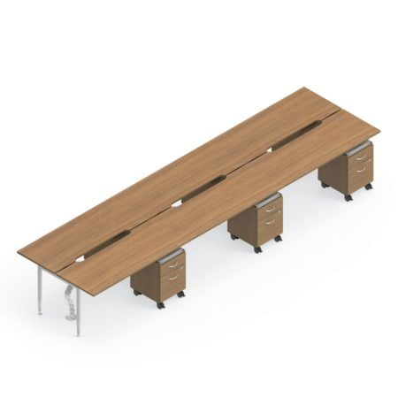 Global Sidebar 6-Person Benching, with white background. Mobile pedestal drawers are placed just underneath each station.