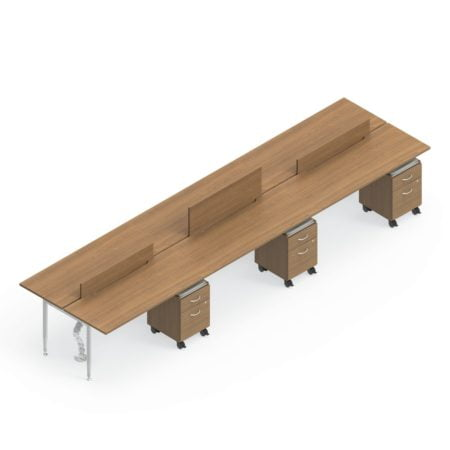 Global Sidebar 6-Person Benching, with white background. Mobile pedestal drawers are placed just underneath each station. Three adjustable matching partitions emerge from the center of the bench, shown at different heights.