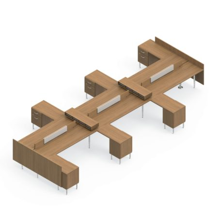 Global Sidebar 6-Person Benching, with matching pedestal returns. It is on a white background. At each end is an end-of-run divider.