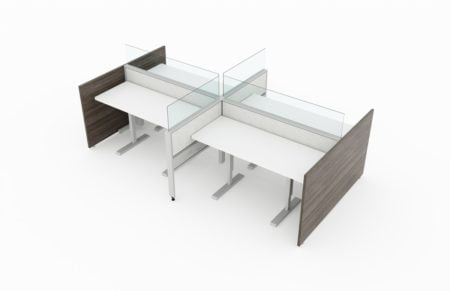 4-Person workstation, with Acajou end pnels, and with glasstop front and side dividers. It is rendered on a white background. Model is EPB504.