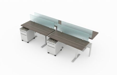 4-Person set of workstations, using a full glass panel for privacy in a double run. Mobile pedestal drawers are underneath each seating. It is rendered on a white background. Model is EPB510.