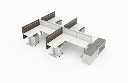 4-Person set of L-shaped workstations. Frameless glass pieces make up the top of the partition. Mobile pedestal drawers are underneath each seating, with metal storage drawers and shelves placed at the end. This is rendered on a white background. Model is EPB511