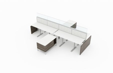 4-Person work area with Acajou end paneling. Breaking up each workstation is a credenza, offering covered shelving and a larger drawer. Frameless glass pieces make up the top of the partition.It is placed on a white background. Model is EPB514.