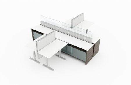 #-Person pair of L-shaped workstations, with clear doored supply storage below. Frameless glass pieces make up the top of the partition. It is rendered on a white background. Model is EPB529.