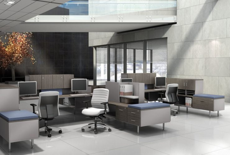 Studio photography of Global's 4-person sidebar benching in a reception area. The tops are given a grey wood finish, and blue topped credenzas are placed at the sides.