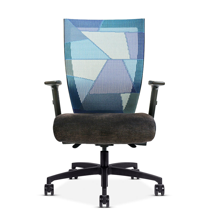 RunII High-Back Chair with Adjustable Arm Rest and Blue Patchwork Mesh Back – Front View